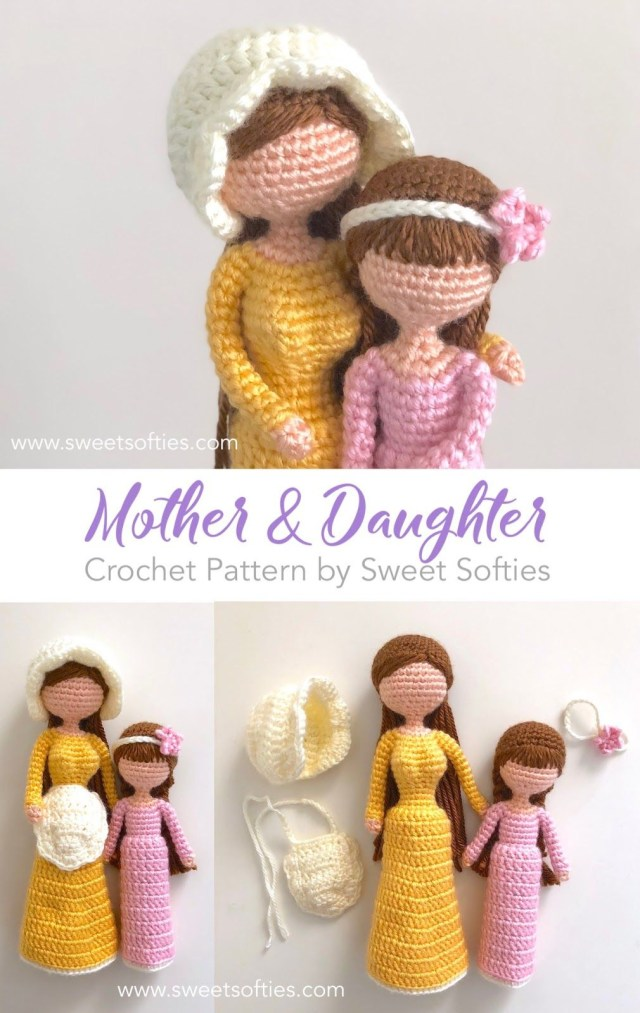 Simple Crochet Doll Pattern Mother Daughter Dolls Inspired Willow Tree Figurines