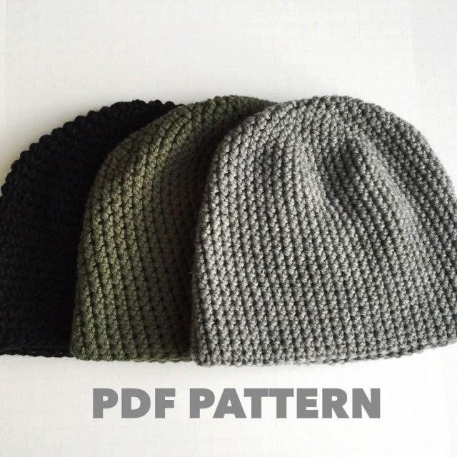 Simple Crochet Hat Pattern Crochet Pattern Mens Easy Beanie Hat Crochet Hat Pattern For Man
