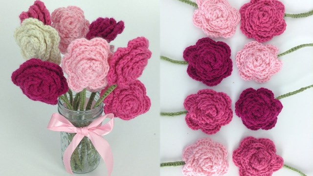 Simple Crochet Rose Pattern Crochet Rose Bouquet Free Pattern Right Hand Youtube