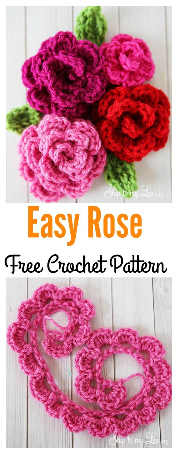Simple Crochet Rose Pattern Valentines Day Crochet Flowers Free Patterns Crochet Crochet