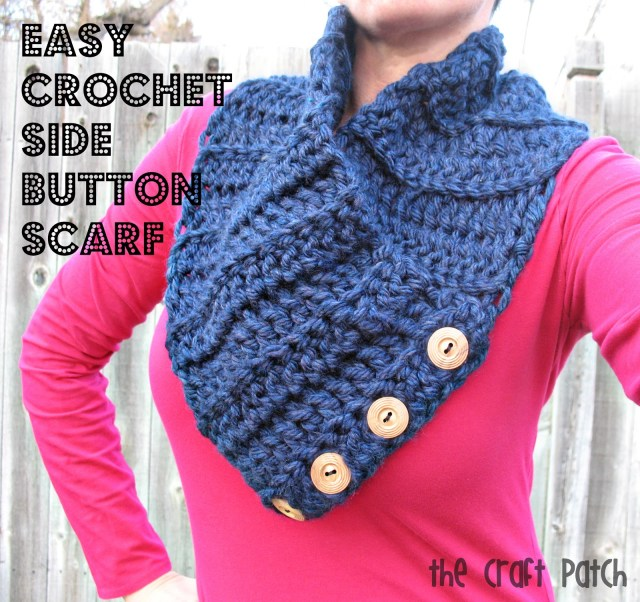Simple Crochet Scarf Patterns Easy Crochet Side Button Scarf Thecraftpatchblog