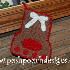 Crochet Christmas Chair Covers Resin Wicker Lounge Chairs Paw Print Stocking Free Pattern