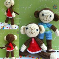 Two Monkey Amigurumi ~ Jenny and Teddy