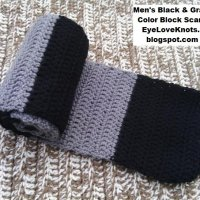 Men's Black and Gray Color Block Scarf ~ Alexandra Richards - EyeLoveKnots