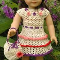 American Girl Doll Wildflower Dress with Ruffles Drawstring Handbag by ABC Knitting Patterns
