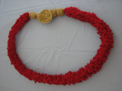 Thread Red Loop Necklace by Donna Collinsworth of Donna's Crochet Designs