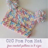 C2C Pom Pom Hat by Marie Segares/Underground Crafter