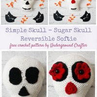 Simple Skull - Sugar Skull Reversible Softie by Marie Segares/Underground Crafter