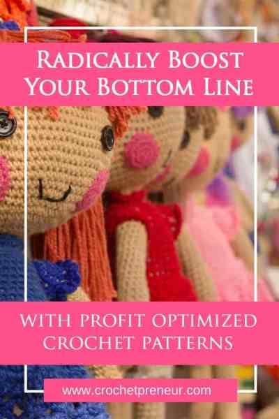 Pinterest graphic for Radically Boost Your Bottom Line with Profit Optimized Crochet Patterns with a background photo of crocheted amigurumi dolls