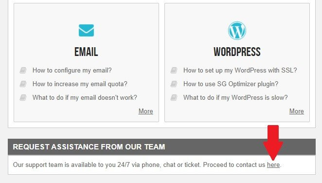 Instructional image on how to send a support ticket with a red arrow on the lower right part on here button