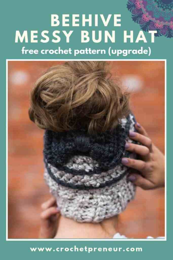 So cute! Free Crochet Pattern for the Chelsea Beehive Messy Bun Hat from Made with a Twist! It even comes with an optional upgrade to make it with stripes and a bow! #beehivebunhat #messybunhat #freecrochetpattern #crochetpattern #crochetpatternmessybunhat #ponytailhatcrochetpattern #ponytailhatpattern #ponytailhat #bunhatpattern