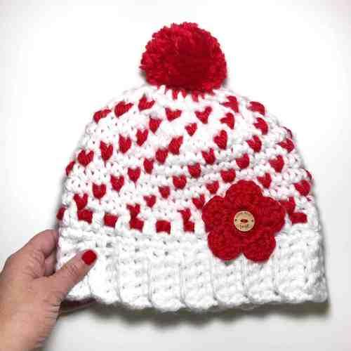 Free Crochet Pattern Women's Heart Hat