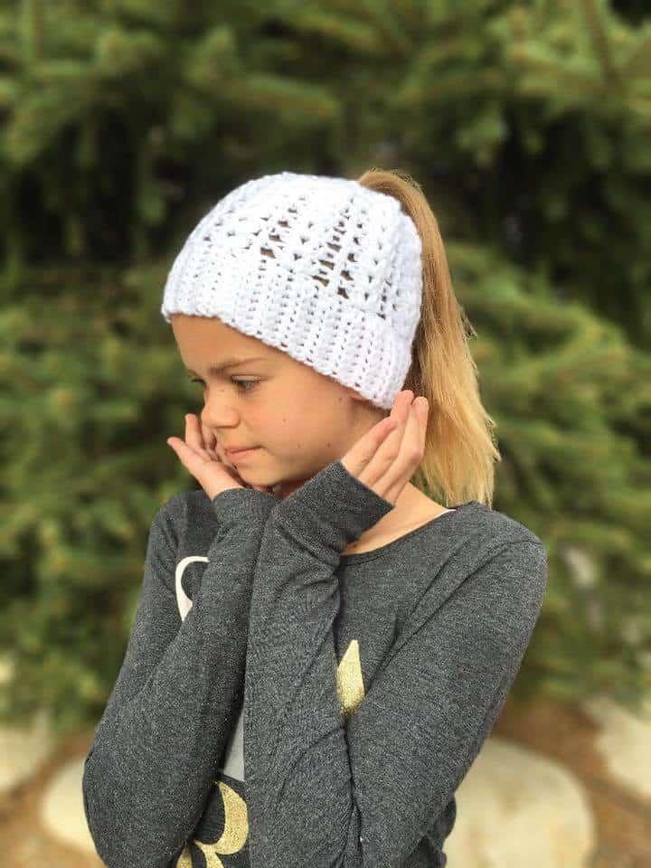 Lily Ponytail Hat Free Crochet Pattern