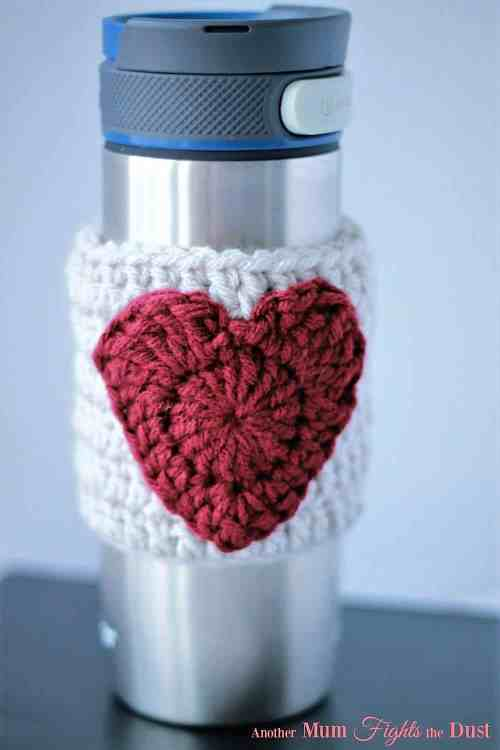 Photo of the Heart Mug Cozy on a tumbler