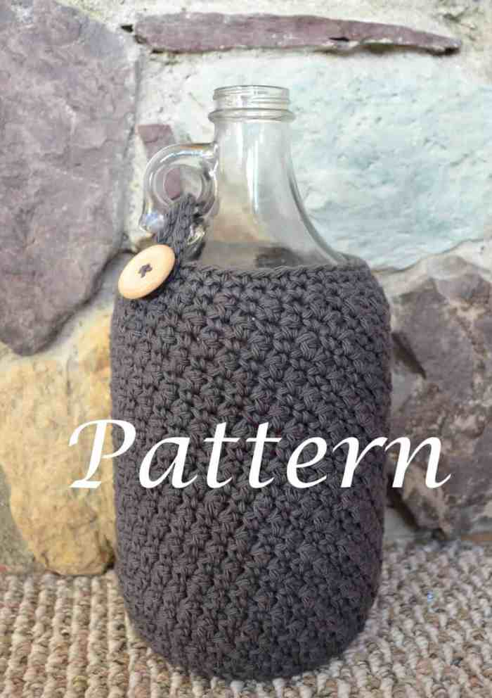 "Photo of a crocheted beer growler cozy in a bottle with the word ""Pattern"""