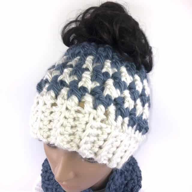 Closeup view of the kaydence messy bun hat crochet pattern