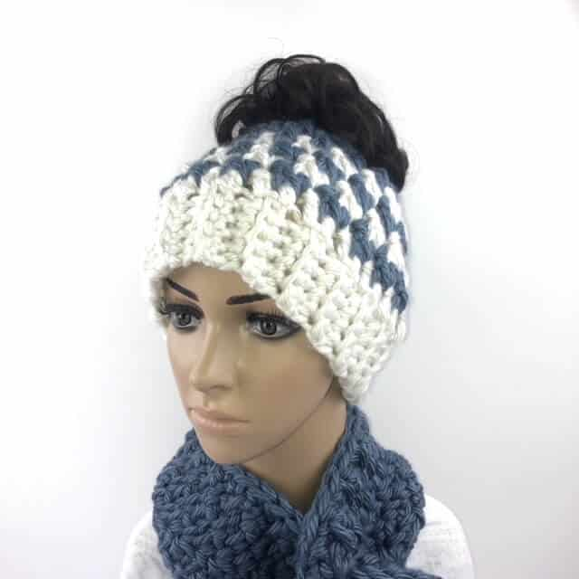 face view of the kaydence messy bun hat crochet pattern