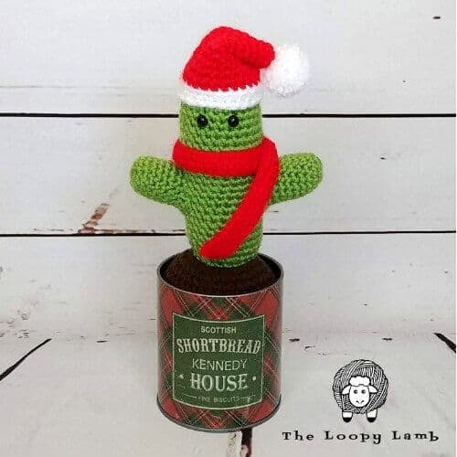 Photo of the Free St. Prickolaus Cactus Crochet Pattern on a tin can