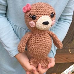 Photo of the cute crocheted brown Amigurumi Seal Pup