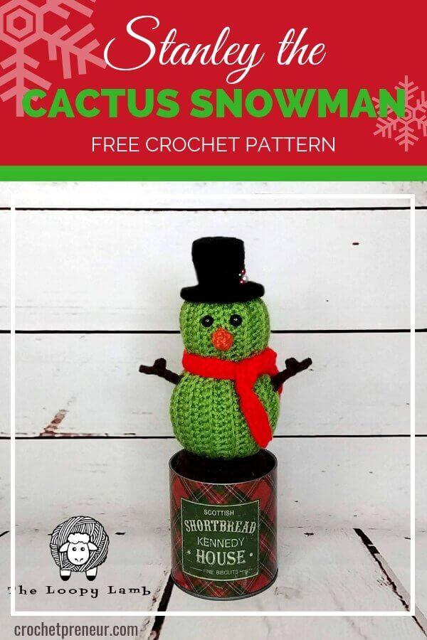 This amigurumi cactus is all ready for winter as he dons his favorite snowman costume. What could be better than a free crochet pattern for a snowman cactus?! #amigurumipattern #freeamigurumipattern #christmascrochetpattern #crochetpatterncactus #cactuscrochetpattern #snowmancactus #crochetpreneur #theloopylambcrochetpattern