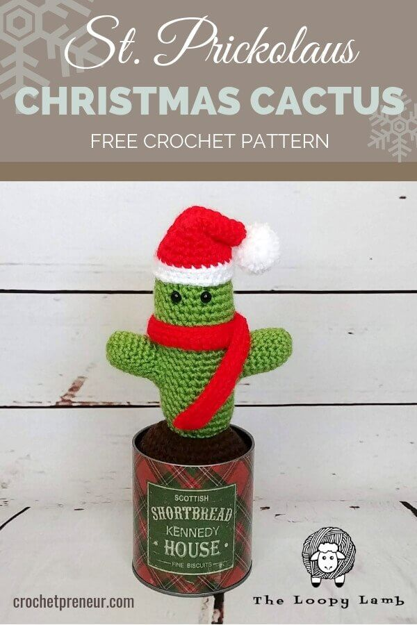 Pinterest graphic for the St. Prickolaus Christmas Cactus FREE Crochet Pattern with a photo of the amigurumi cactus wearing a Santa hat and red scarf