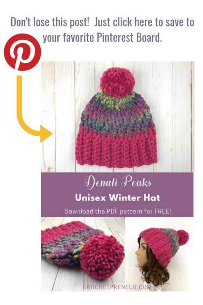 A super easy pattern for a hat that everyone on your gift list will love! Download the ad-free PDF for free today. #freecrochetpattern #madewithatwist #crochetpreneur #unisexwinterhat #unisexhatcrochetpattern #denalipeakshat #unisexwinterhatcrochet #freehatpattern #freewinterhatpattern