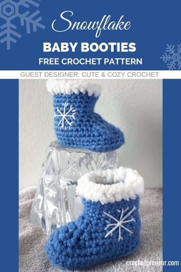 Help make baby's first Christmas even more memorable with these adorable snowflake baby booties. The crochet pattern includes sizes 0-3, 3-6, and 6-12 mos. The snowflake motif makes them the perfect baby booties for an winter holiday...or everyday! #babybooties #babybootiescrochetpattern #winterbabybooties #snowflakebabybooties #christmasbabybooties #snowflakebabybootiescrochetpattern #freecrochetpattern #crochetforbaby #babysfirstchristmas #babysfirstchristmasgift #winterbabyshowergift