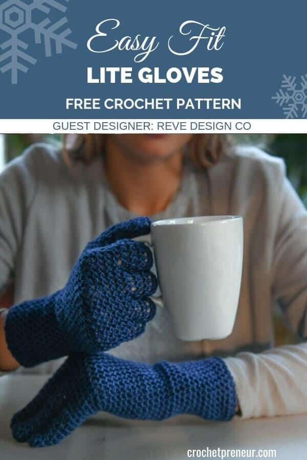 Pinterest image for Easy Fit Lite Gloves FREE Crochet Pattern