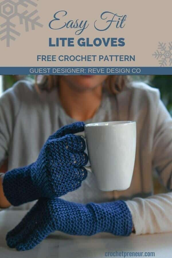 Pinterest graphics for Easy Fit Lite Gloves with Fingers FREE Crochet Pattern