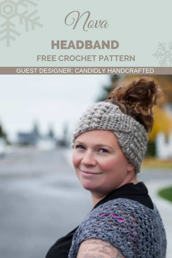 Pinterest graphic for Nova Twisted Headband FREE Crochet Pattern designed by Candidly Handcrafted