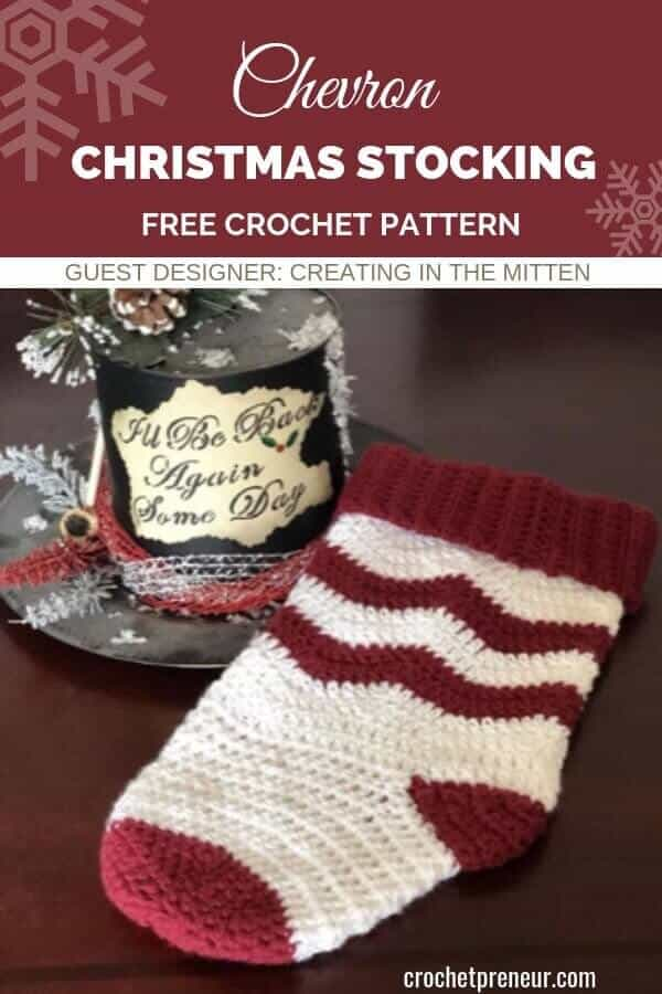 This chevron Christmas stocking crochet pattern will make you holidays Holly Jolly! The free pattern is for intermediate crocheters and you can complete the project in just one evening! #freecrochetpattern #chevronChristmasstocking #Christmasstockingcrochetpattern #stockingcrochetpattern #easystockingpattern