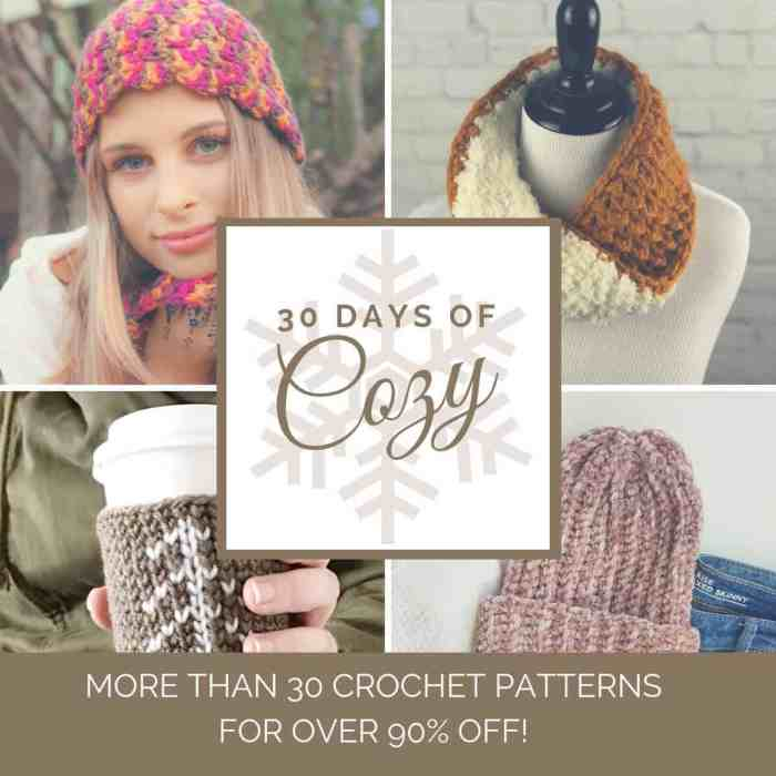 The 30 Days of Cozy Pattern Bundle, curated by the Crochetpreneur Guest Designer Program. 30 Patterns, 30 Days, one amazing low price. #patternbundle #30daysofcozy #patterncollection #freecrochetpatterns
