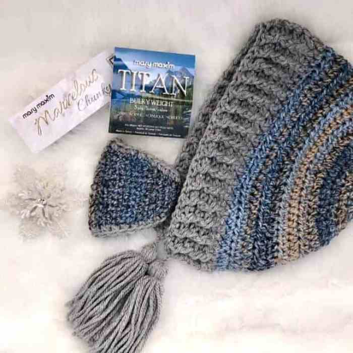 Photo of the Snow Day Hood winter hat with detachable mask with Mary Maxim Yarns