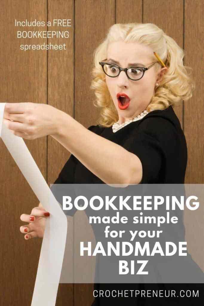 In order to succeed as a handmade business owner, you MUST know your numbers. Get the free handmade business bookkeeping spreadsheet I've used to support my thriving crochet business. #bookkeeping #smallbusiness #handmadeseller #handmadebusiness #handmadebusinessbookkeeping #bookkeepingspreadsheet #runningasmallbusiness #mompreneur #solopreneur #crochetpreneur