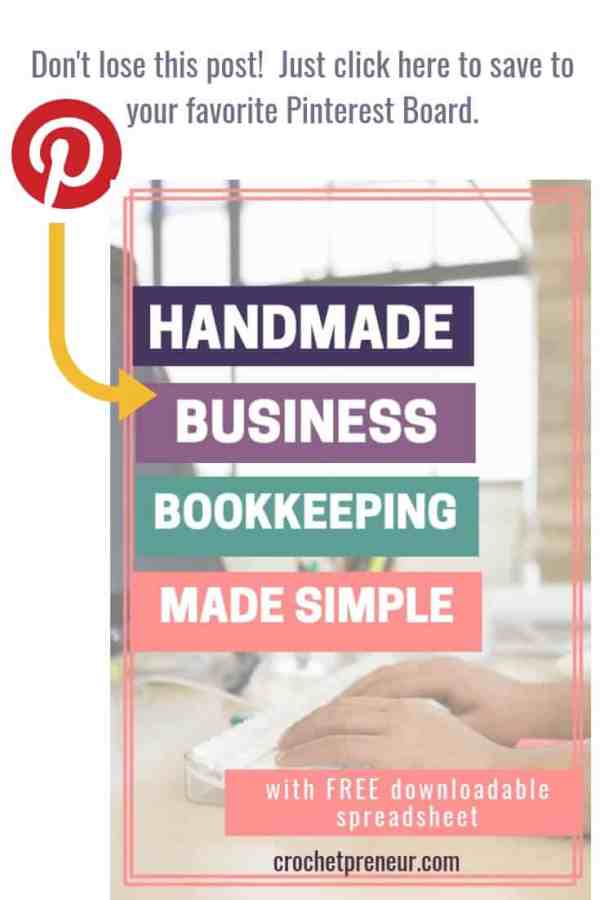 pinterest image for handmade business bookkeeping post