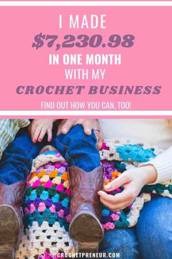 How I made over $7000 dollars with my crochet business and blog. Check out my detailed report of income, expenses and profit from selling crochet patterns, products, and maker tools. Start a Crochet blog today or take my crochet pattern writing email challenge. They'll all help you get on the road to turning your crochet hobby into a business! #crochetincomereport #crochetincome #crochetbusiness #sellcrochet #startacrochetblog #crochetblog #crochetbusiness #
