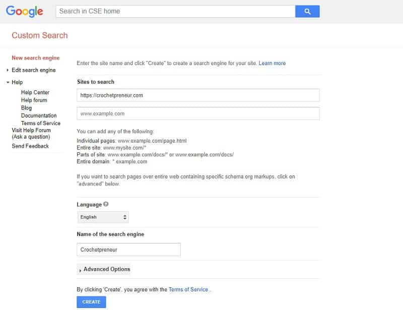 Tutorial image for Google Search Engine Add Screen