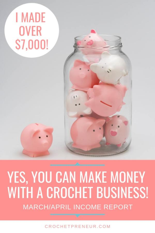 A Pinterest image with several little piggy banks inside a jar. March and April income report