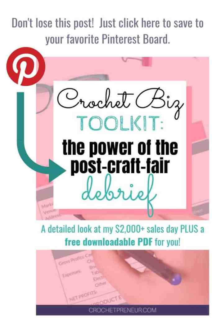 An image to remind you to pin this graphic in your crochet business related Pinterest boards