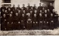 Arciprete Don Matteo Brunetti (4° a sinistra nella seconda fila dall'alto), Esercizi Spirituali nel Seminario Estivo San Berardino di Agnone, luglio 1933, ad Agnone.