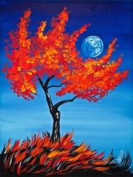painting canvas paintings easy acrylic tree fall beginners paint sherpa simple orange beginner cotton tips tip theartsherpa fun autumn oil