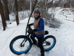 Myrna Mibus, fat biking in Sechler Park 4