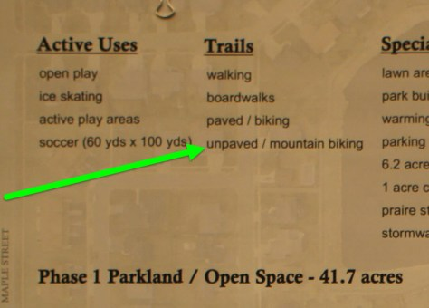 Meadows Park Concept Plans: unpaved/mountain biking trails