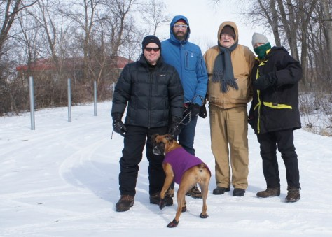 L to R: Dale Gehring, Marty Larson (with his dog Lexy), Dave DeLong, Griff Wigley