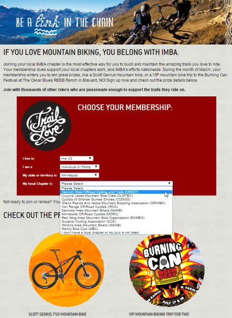 IMBA March membership drive promotion
