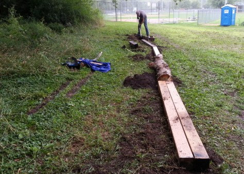 Marty Larson, configuring the beam/log skinny in the Sechler skills park