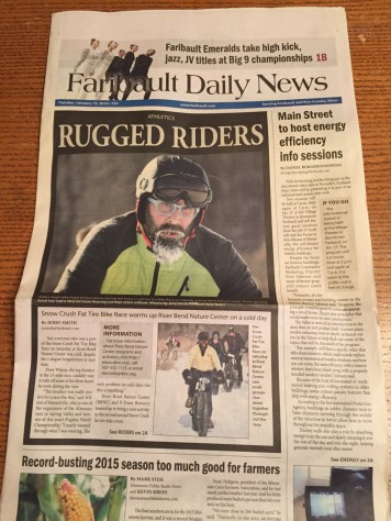 Faribault Daily News front page Snow Crush 2016