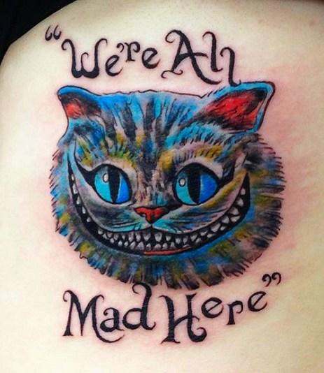 Cheshire Cat tattoo. Shoulder blade. 2016