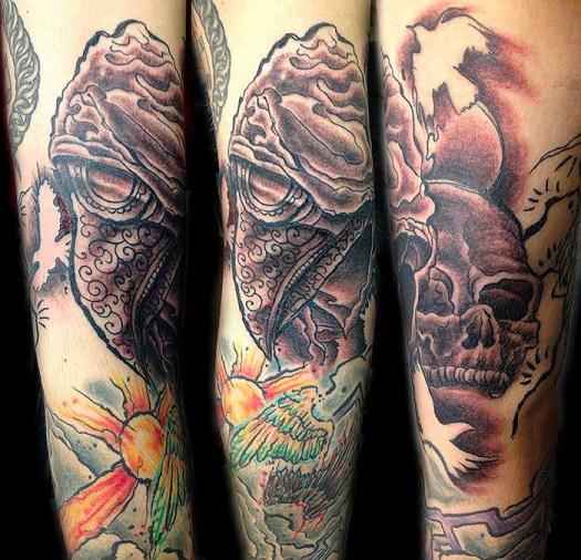 Plague doctor tattoo on Matt. Part of full sleeve. 2016