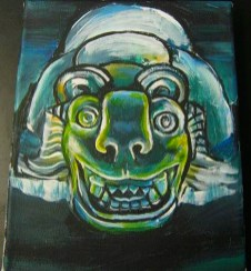 Mayan jaguar mask. Acrylic on canvas. 2014